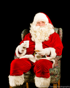 We gave Santa some cookies and hot chocolate and he posed for a portrait.